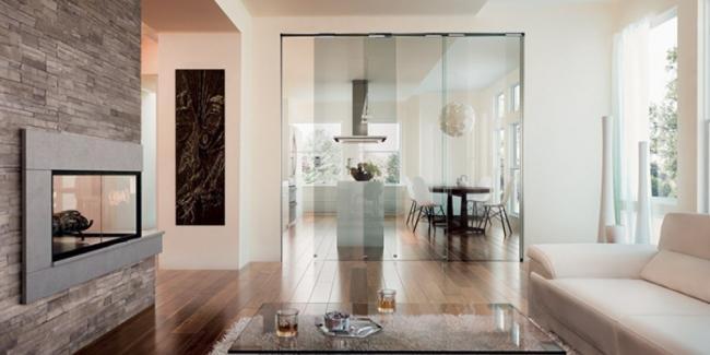 Porta scorrevole divisoria in vetro trasparente